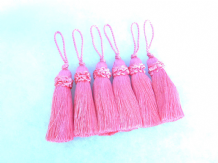 6 Pink key tassel - 10cm + loop - Luxury blind cushion curtain or fabric trim